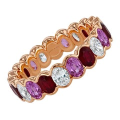 3.76 Carat Ruby, Pink Sapphire and Diamond Oval Eternity Band