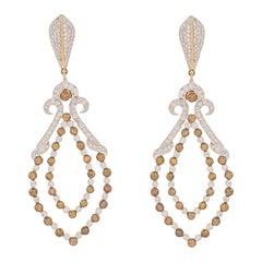 3.77 Carat Fancy Color Diamond 18 Karat Yellow Gold Dangle Earrings