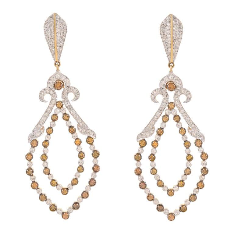3.77 Carat Fancy Color Diamond 18 Karat Yellow Gold Dangle Earrings For Sale