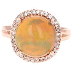 3.77 Carat Opal Diamond Rose Gold Ring