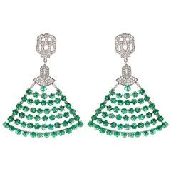 37.71 Carat Emerald Melon Beads and Diamond Earrings