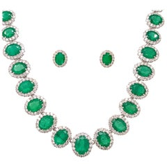 37.73 Carat Emerald Necklace Earrings Set