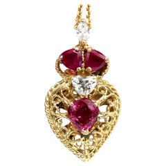 3.78 Carat AIGS Certified No Heat Ruby Diamonds Necklace 14 Karat Heart Marquise