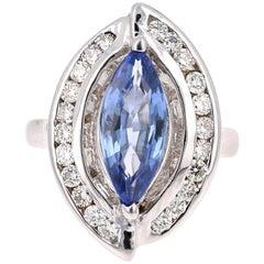 3.78 Carat Blue Sapphire Diamond 18 Karat White Gold Cocktail Ring