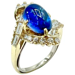3.78 Carat Cabochon Sapphire and Diamond Yellow Gold Ring
