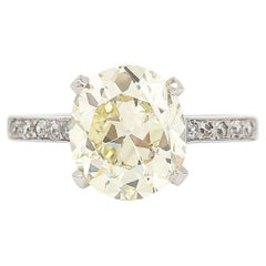 3.78 Carats Old European Cut Solitaire Diamond Engagement Ring