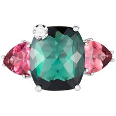 3.78 Carat Cushion Green and Pink Tourmaline, and Diamond Ring 14K White Gold