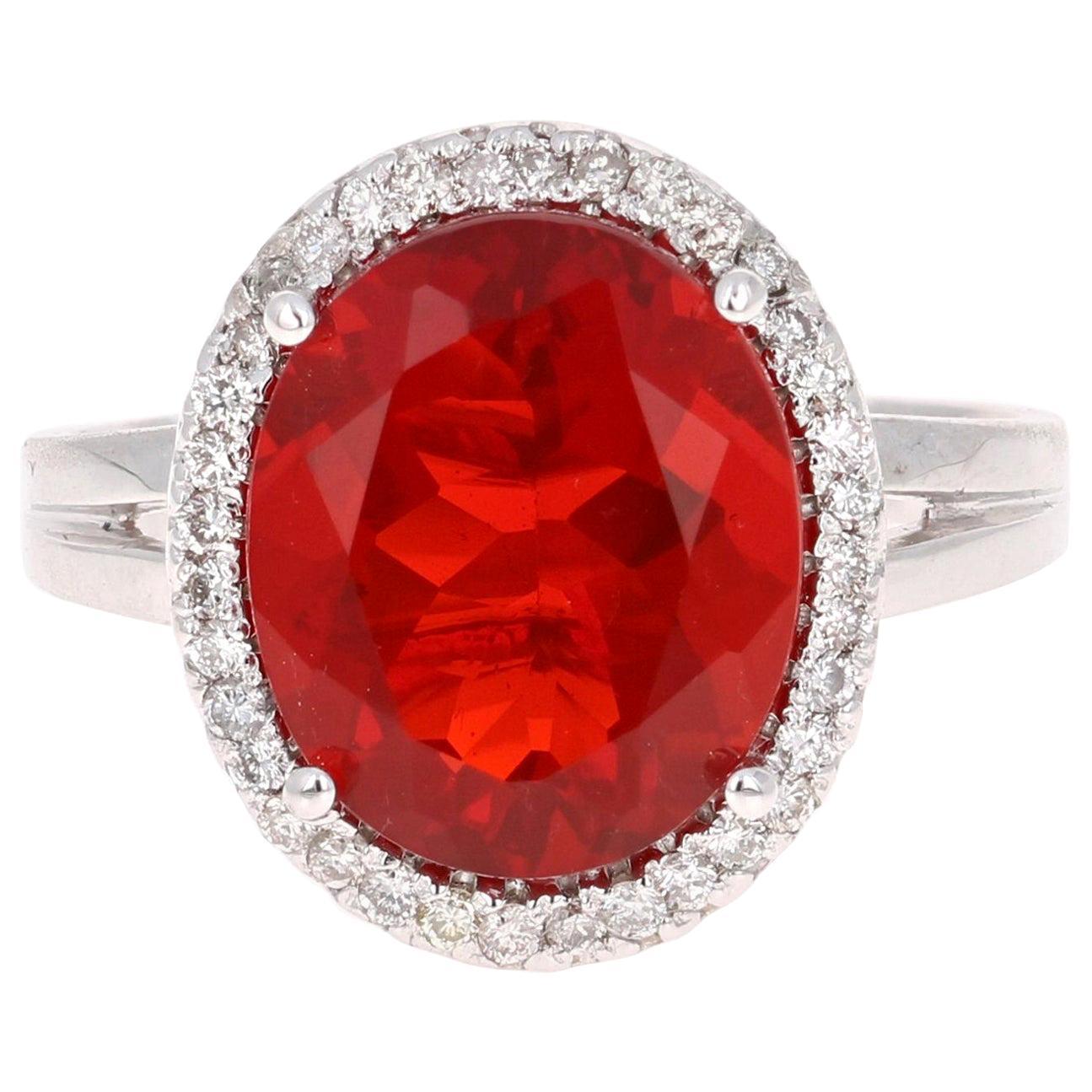 3.78 Carat Oval Cut Fire Opal Diamond 14 Karat White Gold Bridal Ring