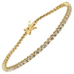 3.78 Carat Yellow Gold Diamond Tennis Bracelet