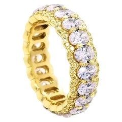 3.78 Ct Oval Diamond Shared Prong Eternity Ring with Pave Set Fancy Yellow Edge