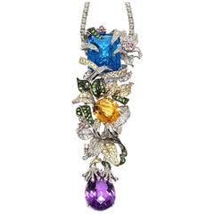 37.80 Carat Diamond Amethyst Citrine Emerald Topaz Purple Sapphire Pendant