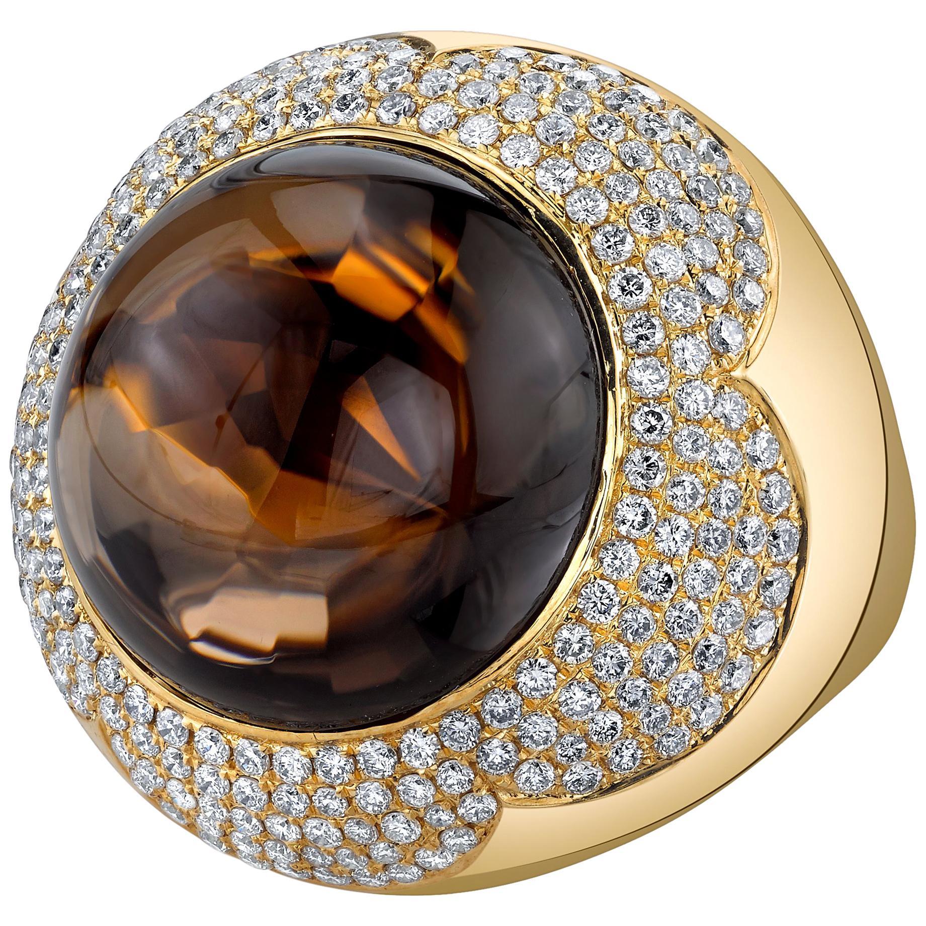 37.87 ct. Round Smoky Quartz Cabochon & Diamond Pave 18k Yellow Bezel Dome Ring