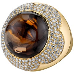 37.87 ct. Round Smoky Quartz Cabochon & Diamond Pave 18k Yellow Bezel Dome Ring