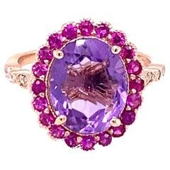 3.79 Carat Amethyst Pink Sapphire Diamond 14 Karat Rose Gold Engagement Ring