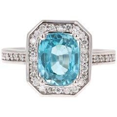 3.79 Carat Blue Zircon Diamond 14 Karat White Gold Ring