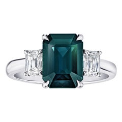 3.79 Carat Emerald Cut Green Sapphire and Diamond Ring