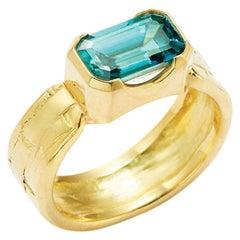 Susan Lister Locke 3.79 Carat Fine Blue Zircon Ring set in 18 Karat Gold