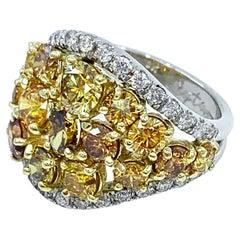 3.79 Carat Genuine Yellow Diamond Shield Ring in Platinum and 18 Karat Gold