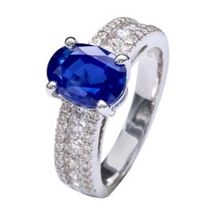 3.79 Carat Natural Unheated Intense Blue Sapphire and Diamond Engagement Ring