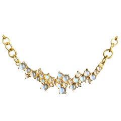 3.79 Carat Rainbow Moonstone Gold Necklace by Lauren Harper