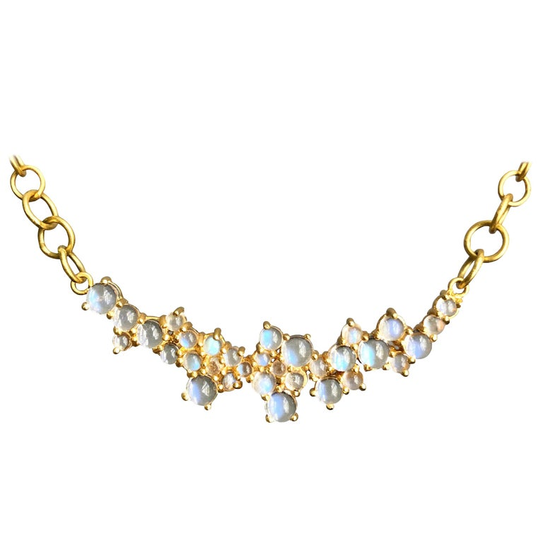 3.79 Carat Rainbow Moonstone Gold Necklace by Lauren Harper For Sale