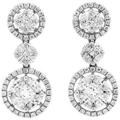 3.79 Carat Round and Marquise Diamond 18 Karat White Gold Dangle Drop Earrings
