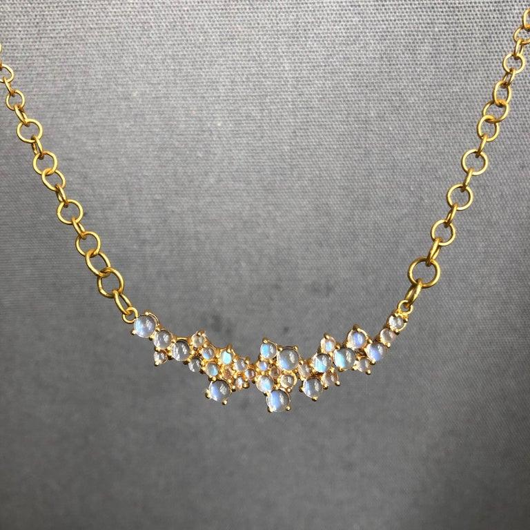3.79 Carat Rainbow Moonstone Gold Necklace by Lauren Harper For Sale 5