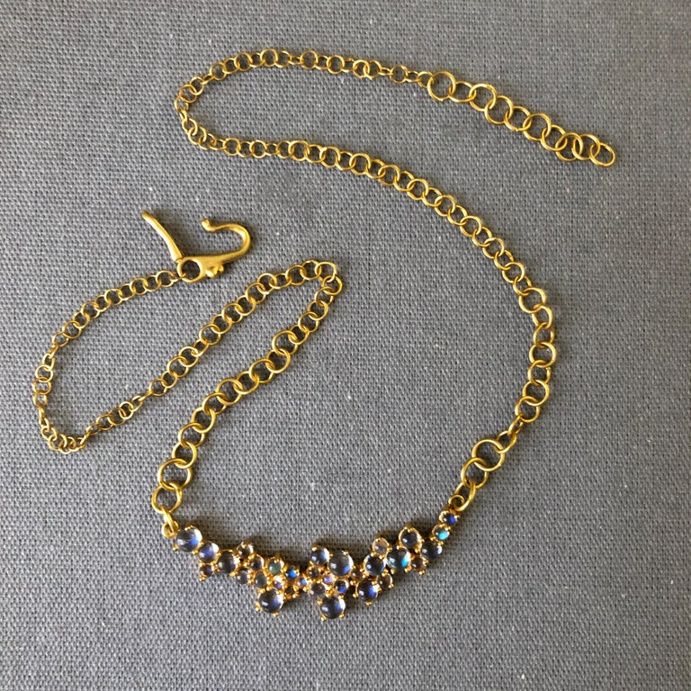 Artisan 3.79 Carat Rainbow Moonstone Gold Necklace by Lauren Harper For Sale