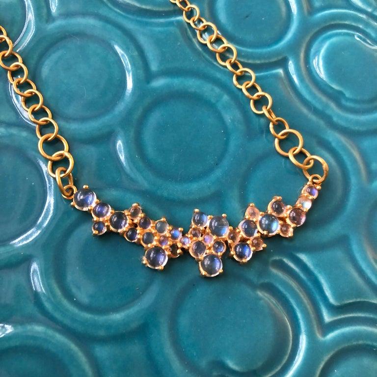 Women's 3.79 Carat Rainbow Moonstone Gold Necklace by Lauren Harper For Sale