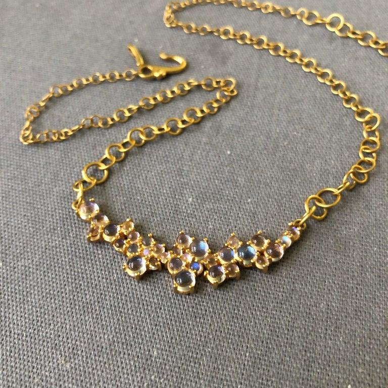 3.79 Carat Rainbow Moonstone Gold Necklace by Lauren Harper For Sale 1