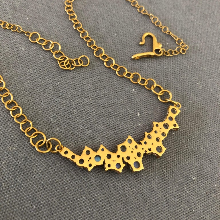 3.79 Carat Rainbow Moonstone Gold Necklace by Lauren Harper For Sale 2
