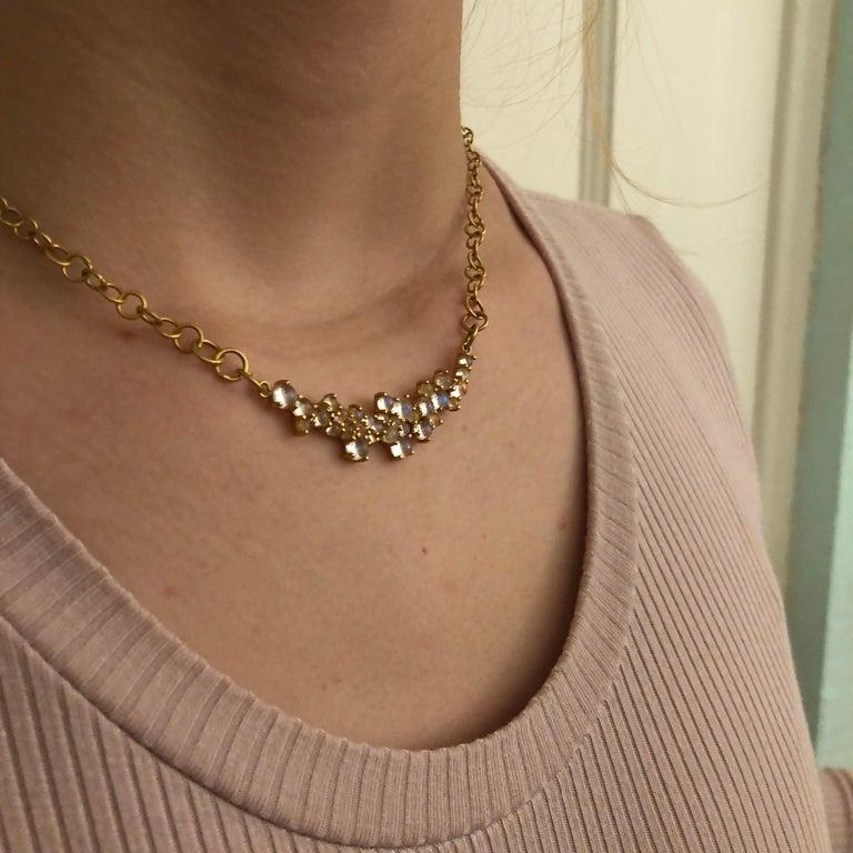 3.79 Carat Rainbow Moonstone Gold Necklace by Lauren Harper For Sale 4