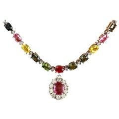 37.90 Carat Sapphire 18 Karat Solid White Gold Diamond Necklace