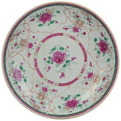 18th Century Porcelain Pre Bencharong Famille Rose Charger Southeast Asia