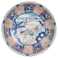 18C Japanese Porcelain Charger Edo Period Garden Scene Shou Lao Ladies Dogs
