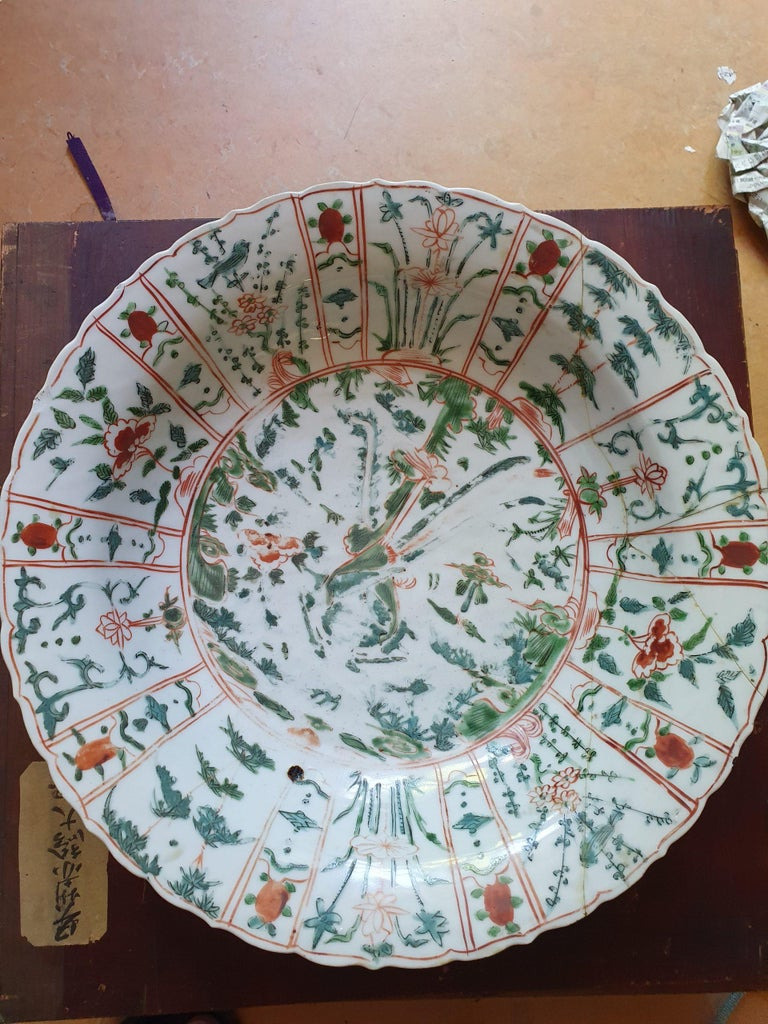 Majestic Zhangzhou Swatow Charger Ko Akae Verte China Ming Dynasty For Sale 4