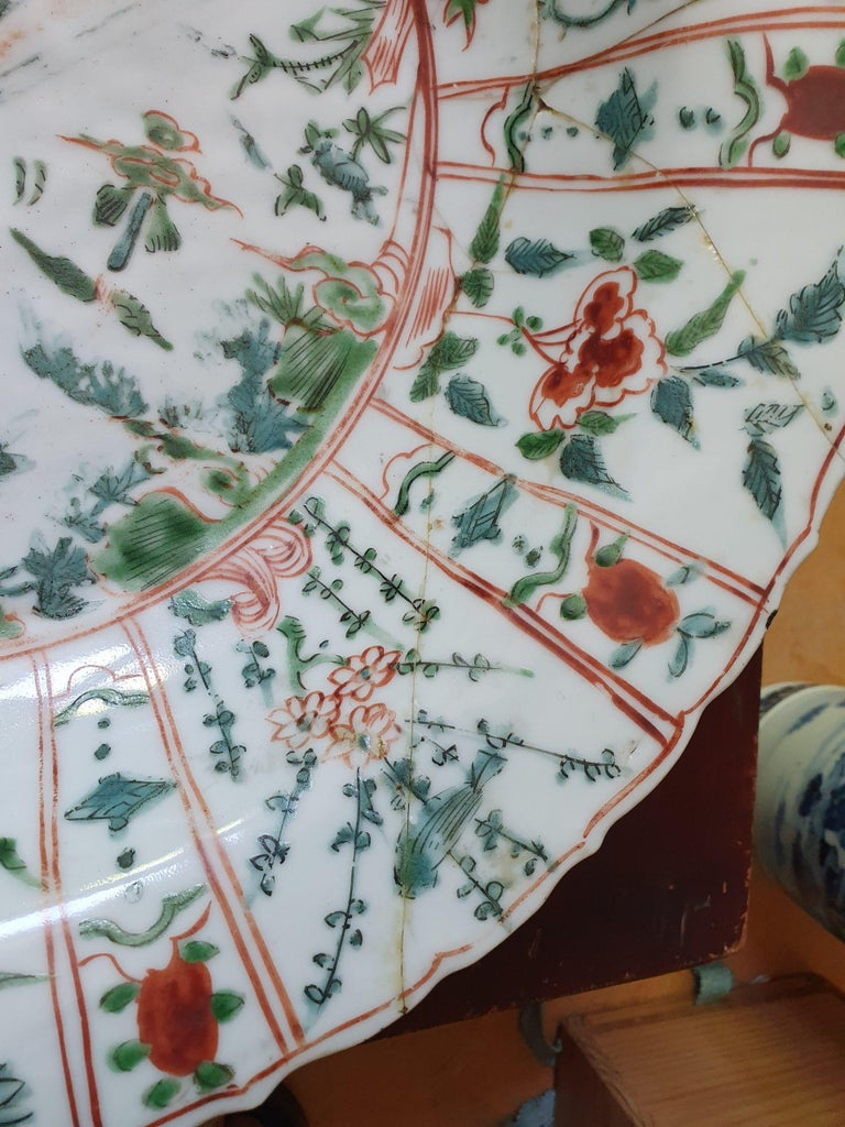 Majestic Zhangzhou Swatow Charger Ko Akae Verte China Ming Dynasty For Sale 5