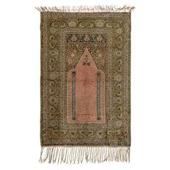 Antique Silk Kayseri Prayer Rug, Ca 1910