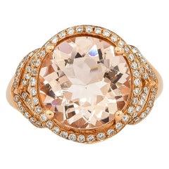 3.8 Carat Morganite and Diamond Ring in 18 Karat Rose Gold