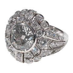 3.4 Carat Old-Cut Diamond and Platinum Domed Ring