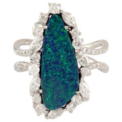 3.8 Carat Opal Diamond 18 Karat Cocktail Ring