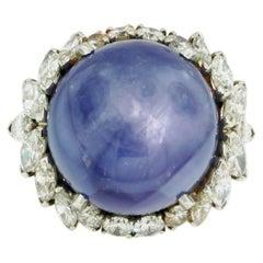 38 Carat Round Cabochon Star Sapphire Platinum Cocktail Ring with Diamond Halo