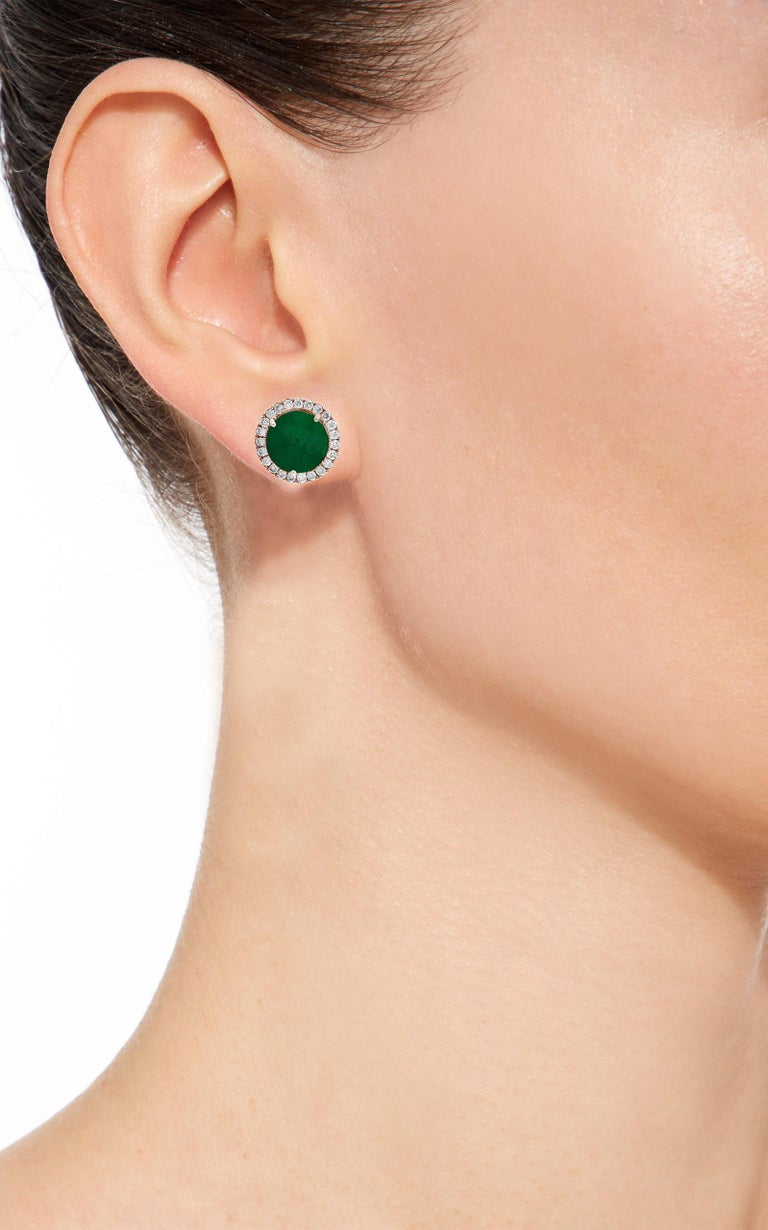 3.8  Carat finest Round Cut Emerald  perfect pair with  Diamond  Post  Earrings  18 Karat  Pink Gold  This exquisite pair of earrings are beautifully crafted with 14 karat Rose gold . Weight of 18 K gold 5 grams  Fine  Round Cut Emeralds weighing