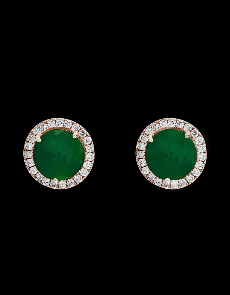 Round Cut 3.8 Carat Round Emerald and Diamond Stud Earrings 18 Karat Pink Gold For Sale