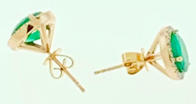 Women's 3.8 Carat Round Emerald and Diamond Stud Earrings 18 Karat Pink Gold For Sale