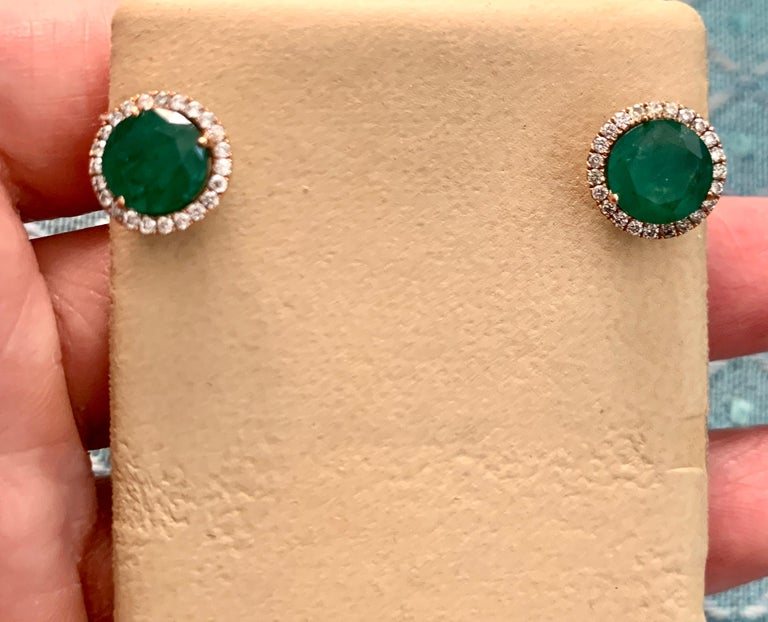 3.8 Carat Round Emerald and Diamond Stud Earrings 18 Karat Pink Gold For Sale 4
