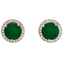 3.8 Carat Round Emerald and Diamond Stud Earrings 18 Karat Pink Gold