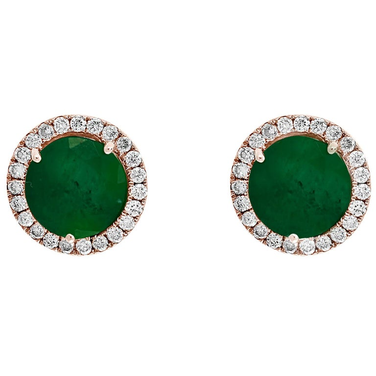 3.8 Carat Round Emerald and Diamond Stud Earrings 18 Karat Pink Gold For Sale