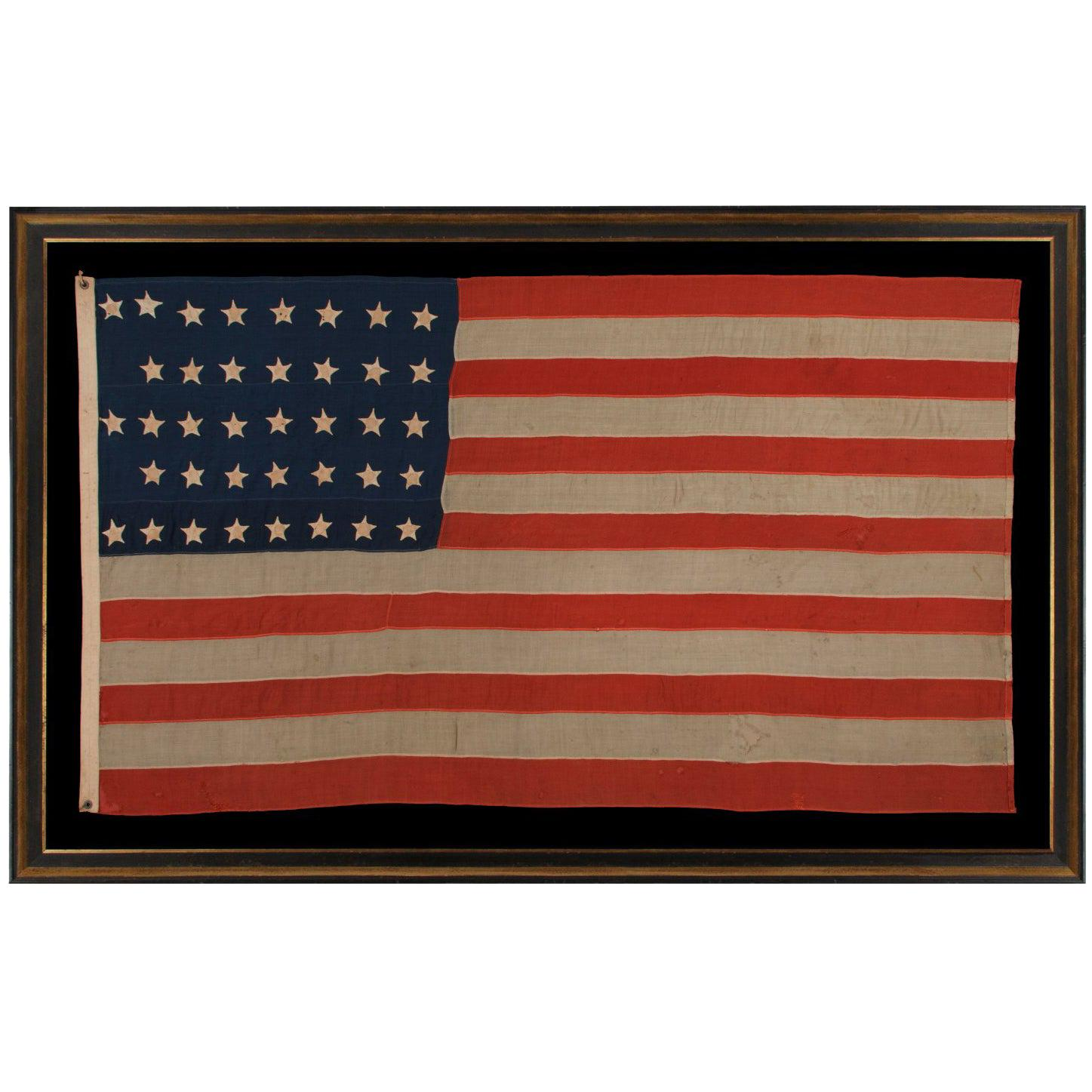 """38 Hand-Sewn Stars in a """"Notched"""" Pattern on an Antique American Flag"""