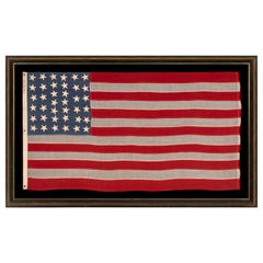 "38 Star American Flag with Slate Blue Canton Signed ""Leddon"""